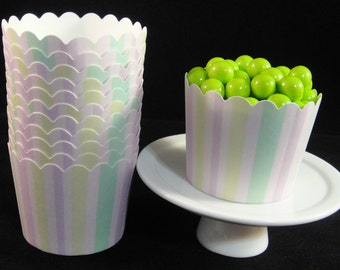 Pastel Striped  Baking Cups, Candy Cups, Dip Cups, Nut Cups, Weddings, Party Cups, Candy Buffets, Wedding Cupcakes, Favor Cups, QTY 12