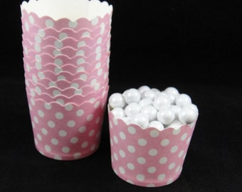 Medium Pink with Medium White Polka Dot Baking/Candy Cups - Qty 12