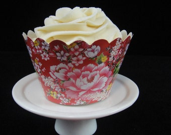 Red with Pink Roses Cupcake Wrappers