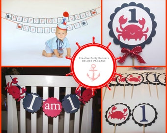 Nautical Happy Birthday Banner - Package Deal - crabs and sailboats, nautical, ocean party, crab party, whale party, ocean theme,
