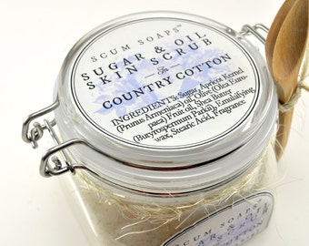 Country Cotton Sugar & Oil Skin Treatment - Natural, Vegan, Sugar Scrub, Shabby Chic