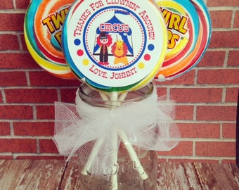 circus birthday lollipop stickers, clown birthday stickers, large circus party stickers, custom carnival party labels--set of 12