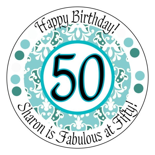 Fabulous At 50 Stickers 50th Birthday Stickers Blue Damask