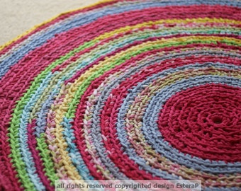 Fuchsia, Blues and Yellows Round Area Rug Recycled T Shirt Yarn Made to Order