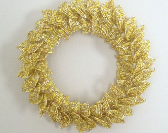 Yellow Blend French Beaded Decorative Wreath (Small)