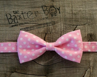 Pink and White polka dot little boy bow tie - photo prop, ring bearer, wedding
