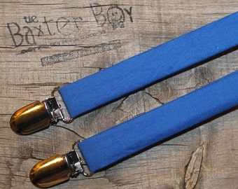 Solid Royal Blue little boy suspenders - photo prop, wedding, ring bearer, accessory