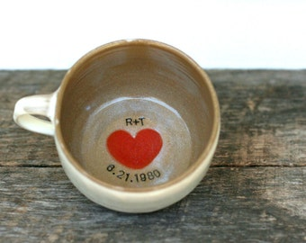 Personalized Cup of Love Latte Mug with Initials & Wedding Date