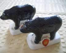 Black Bear Salt and Pepper Shakers - Vintage, Collectible, Souvenir