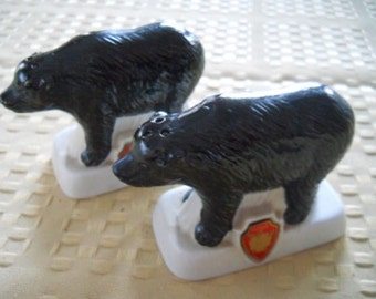 Black Bear Salt and Pepper Shakers - Vintage, Collectible, Souvenir