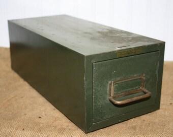 Vintage Metal Card File Box