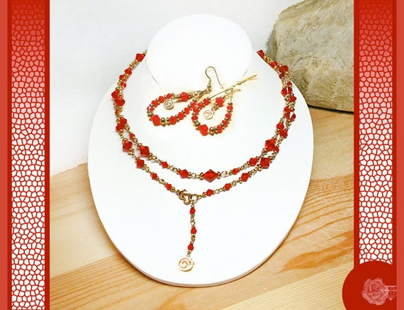 "34"" Wrapable Necklace Red Crystal Bicones Shiny Gold Spacers Lariat Style Long Gold Chain Heart Clasp And/Or Matching Crystal Hoop Earrings"