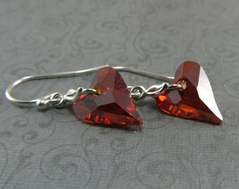 Magma Red Wild Heart Crystal Silver Valentine Earrings