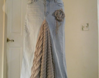Belle Époque ruffled jean skirt sparkly grey mauve taupe  bohemian mermaid beach wedding  Renaissance Denim Couture Made to Order