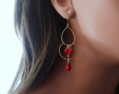 Gold Earrings With Chandelier Gold Links Bamboo Coral And Siam Swarovski Crystals