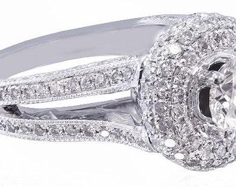 14k white gold round cut diamonds engagement ring art deco split band halo 1.70ctw