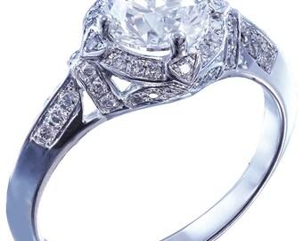 14k white gold round cut diamond engagement ring antique deco style 1.95ctw