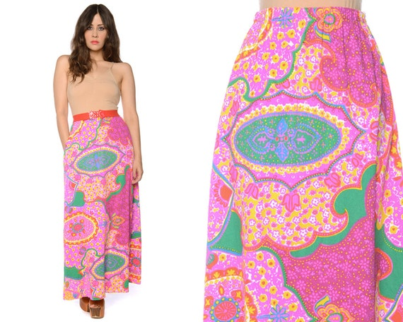 psychedelic maxi skirt 70s hippie bright by gravelghostvintage