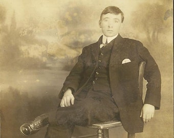 Handsome Young Man in Studio Portrait RPPC Belleville Ontario 1910s