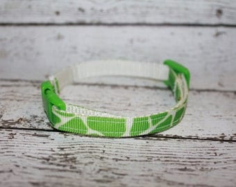 Green Giraffe Print Cat/Kitten Collar- Adjustable and Breakaway
