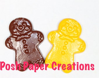 4 Gingerbread man crayons - in cello bag tied with ribbon - choose your colors