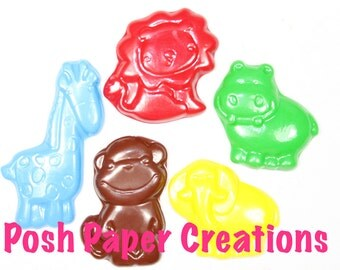 10 jungle animal crayons - in cello bag tied with ribbon - choose your colors