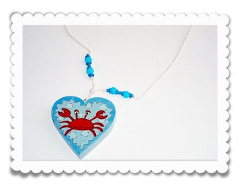 Crab Necklace Hand Painted Wooden Heart Jewelry for Kids