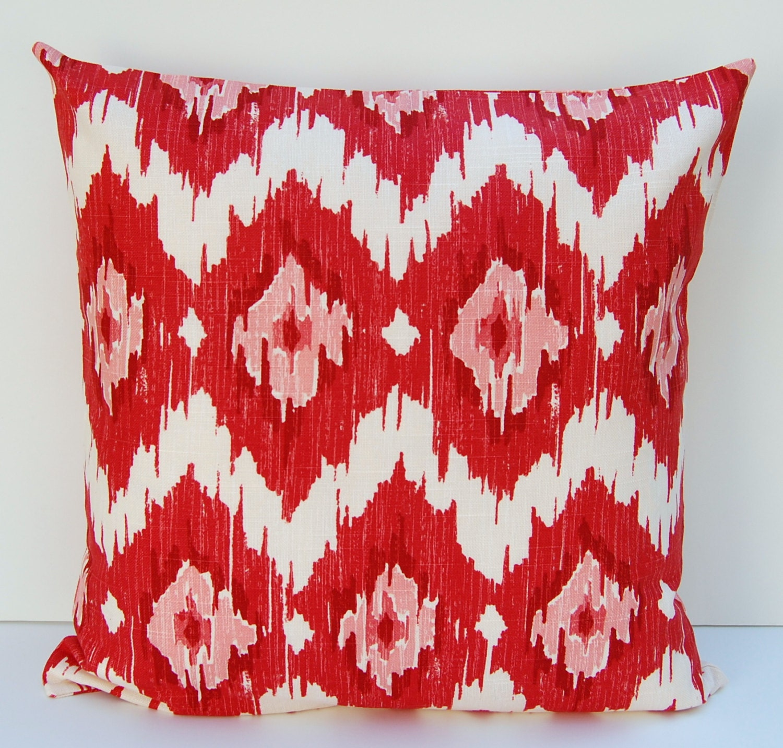 Ikat Throw Pillow Covers : Red Ikat Pillow Cover Red Ikat Throw Pillow Decorative