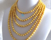 Pearl Necklace -100 Inches 7-9mm Golden Freshwater Pearl Necklace Strand Jewelry- Free shipping