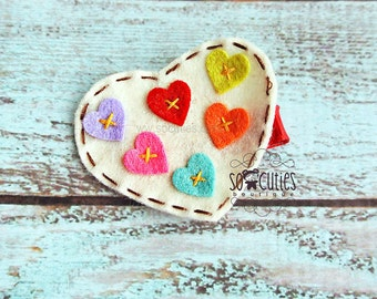 White Heart felt hair clip, baby hair clip, girl hair clip, Valentine hair clip ...