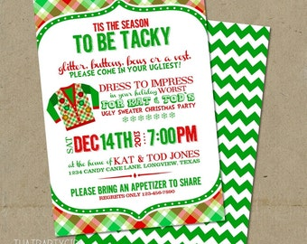 Ugly Sweater Invitations Christmas Party DIY