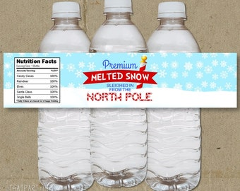 Melted Snow Christmas Holiday Party Water Bottle Labels - DIY- Instant Download