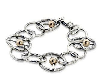 Silver Links Bracelet, Hammered Bracelet, Silver and Gold Bracelet, Modern Jewelry