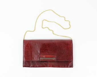 Maroon Leather Clutch   Vintage Gold Chain Purse