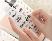 Petit Deco Calligraphy Transparent Stickers for scrapbooking, Journaling