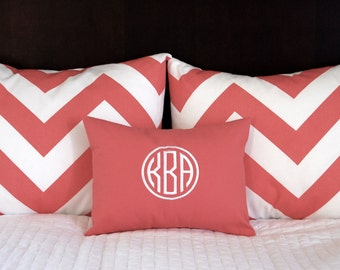 Pillow Shams, Coral Bedding, Monogram Pillow,  Decorative Throw Pillow Covers Standard Full Queen Ensemble 19 x 25 Includes Monogram Pillow