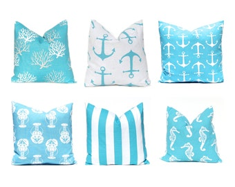 Turquoise Pillow Covers, Nautical Pillows, Nautical Decor, Decorative Throw Pillow Cover, Beach Decor 16 x 16 Aqua WhiteTurquoise Pillows