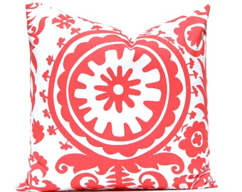 Coral Pillows, Beach Decor, Decorative Pillows, Throw Pillow Covers, Accent Pillows One 20 x 20 Inches Suzani Pillow Covers Coral on White