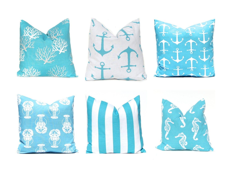 Etsy Throw Pillows Turquoise Pillow Covers Nautical Pillows Nautical Decor