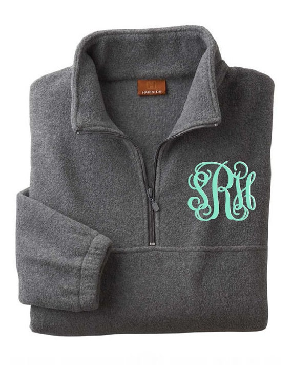 monogrammed  personalized grey fleece pullover