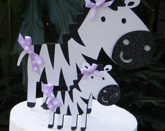 Zebra CAKE TOPPER set  Mommy and Baby Zebra with purple accents