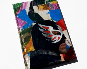 Mixed media collage lucha libre journal