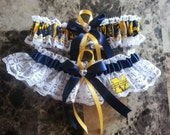 Wedding Garter Set Handmade with University of Michigan any size, color or style