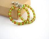 Hoop beaded earrings, honey brown and green, minimal jewelry, stud earrings, everyday jewelry