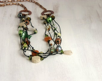 Long beaded necklace, multi strand necklace, green and brown, knotted necklace, statement necklace with black wax cord