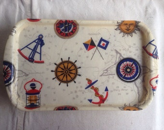 Vintage Rexilite tray by Eubanks. Nautical tray. Beach tray