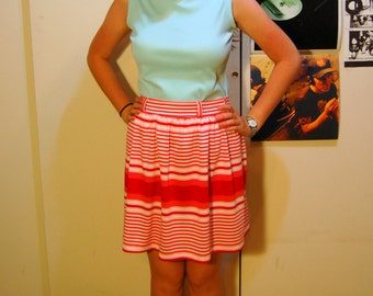 S/M Vintage 70s Pink, Red, and White Striped Skirt