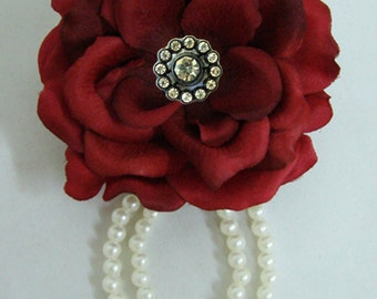 Silk Rose flower Hair Clip with Pearl and Pin Brooch Pick Color