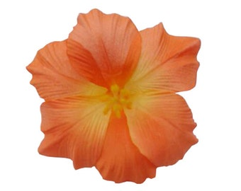 Orange Hawaiian Hibiscus Realistic Flower Hair Clip