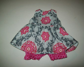 """Baby Alive  And Waldorf Doll Clothes Pink & Grey Damask Adorable Dress 10"""" 12"""" Or 15"""""""